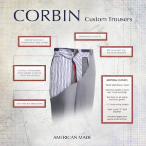 Corbin Pants and trousers at ls mens clothing custom fit by our tailors for that made to measure feel